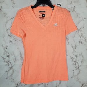 ADIDAS Neon Orange Short Sleeve Tee Shirt Top XS